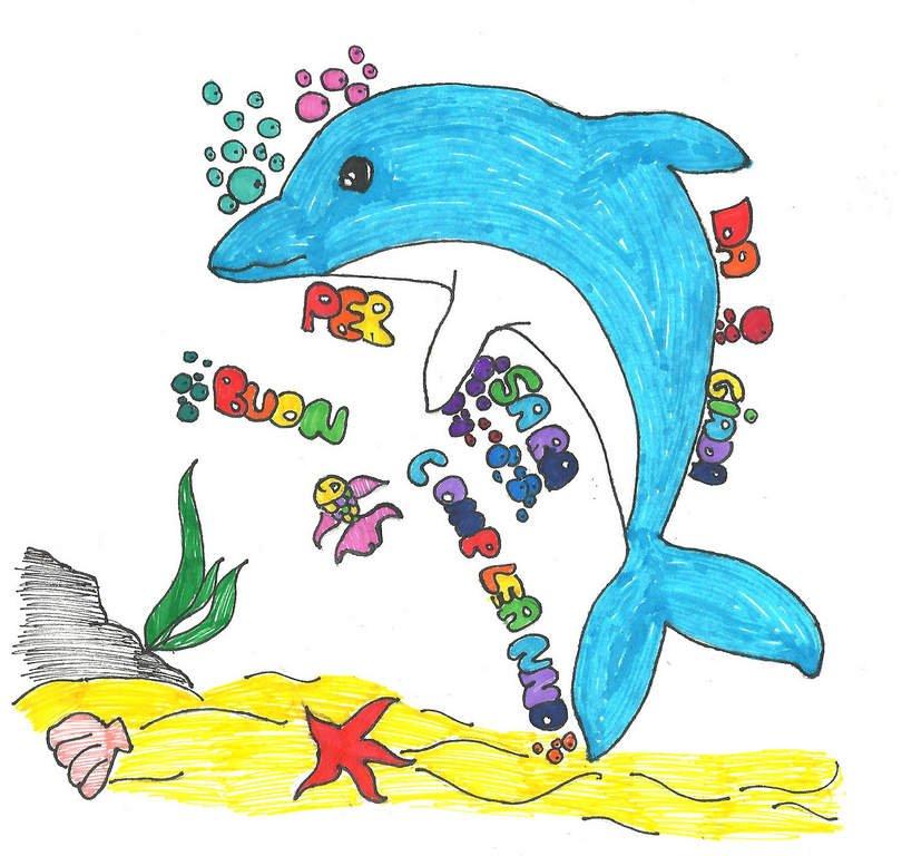 disegna un delfino per fare gli auguri di compleanno ad una sua amica